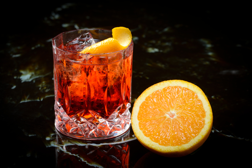 negroni on the rocks and orange